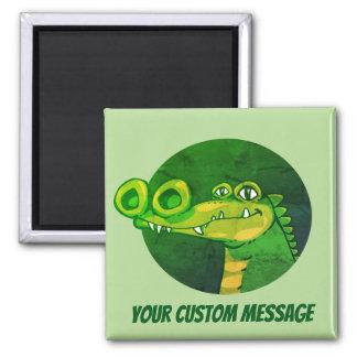 big nostril funny crocodile head cartoon magnet