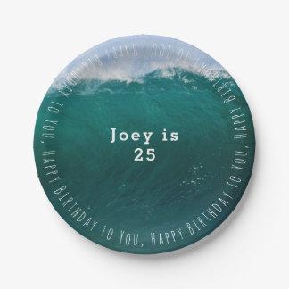 Big Ocean Wave Summer Birthday 7 Inch Paper Plate