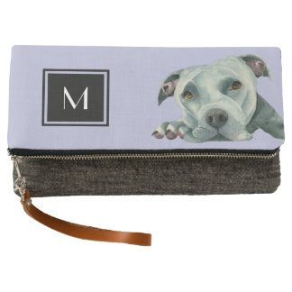 Big Ol' Head - Pit Bull Dog Watercolor | Monogram Clutch