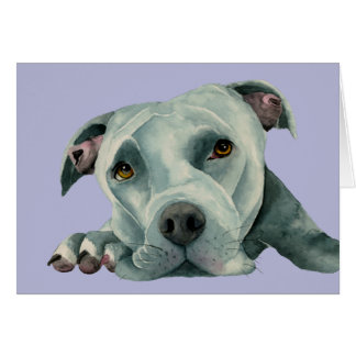Big Ol' Head - Pit Bull Dog Watercolor Painting Card