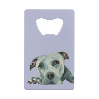 Big Ol' Head - Pit Bull Dog Watercolor Painting Credit Card Bottle Opener