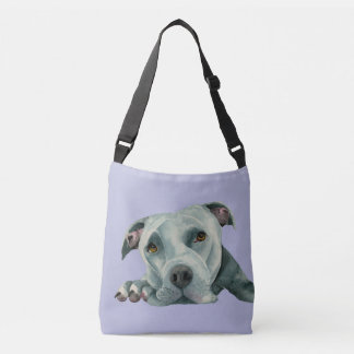 Big Ol' Head - Pit Bull Dog Watercolor Painting Crossbody Bag