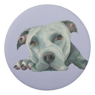 Big Ol' Head - Pit Bull Dog Watercolor Painting Eraser