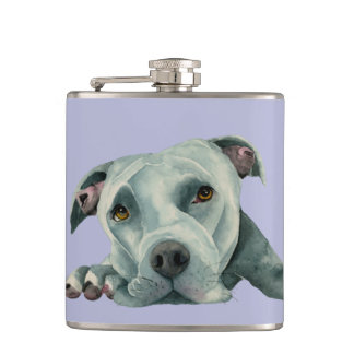 Big Ol' Head - Pit Bull Dog Watercolor Painting Hip Flask
