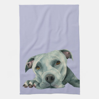 Big Ol' Head - Pit Bull Dog Watercolor Painting Kitchen Towel