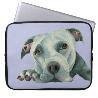 Big Ol' Head - Pit Bull Dog Watercolor Painting Laptop Sleeve