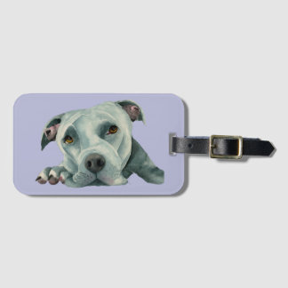 Big Ol' Head - Pit Bull Dog Watercolor Painting Luggage Tag