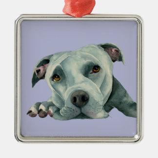 Big Ol' Head - Pit Bull Dog Watercolor Painting Metal Ornament