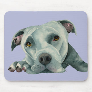 Big Ol' Head - Pit Bull Dog Watercolor Painting Mouse Pad