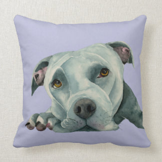 Big Ol' Head - Pit Bull Dog Watercolor Painting Throw Pillow