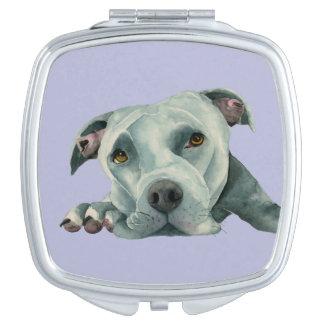 Big Ol' Head - Pit Bull Dog Watercolor Painting Travel Mirror