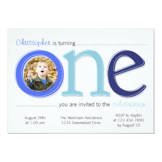 Big One with Photo Cutout Birthday Card - Blue