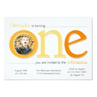 "Big One with Photo Cutout Birthday Card - Orange 5"" X 7"" Invitation Card"