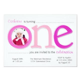 "Big One with Photo Cutout Birthday Card - Pink 5"" X 7"" Invitation Card"