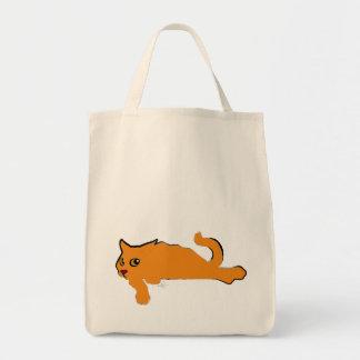 Big Orange Cat Art Grocery Tote Bag