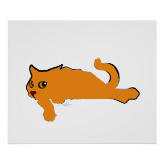 Big Orange Cat Art Poster