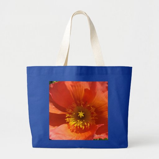 """Big Orange Poppy"" Tote Bags"