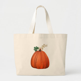 Big Orange Whimsical Pumpkin Canvas Bags