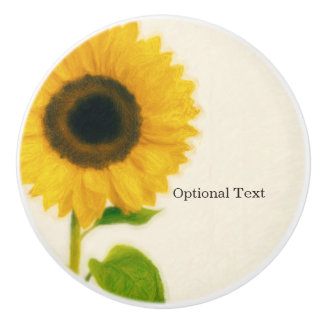 Big Painted Sunflower Rustic Country Chic Custom Ceramic Knob
