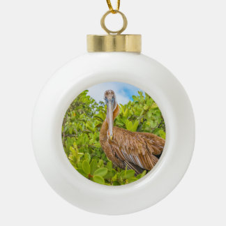 Big Pelican at Tree, Galapagos, Ecuador Ceramic Ball Christmas Ornament