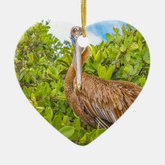 Big Pelican at Tree, Galapagos, Ecuador Ceramic Heart Ornament