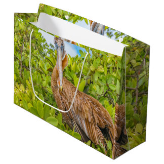 Big Pelican at Tree, Galapagos, Ecuador Large Gift Bag
