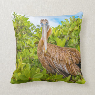 Big Pelican at Tree, Galapagos, Ecuador Throw Pillow