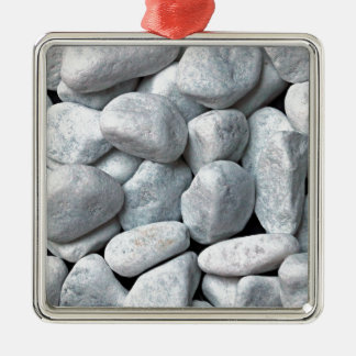 Big pile of gray and white stones from the beach Silver-Colored square ornament