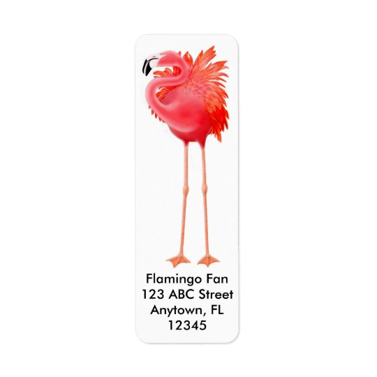 Big Pink Flamingo Label Return Address Label
