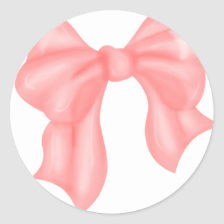 Big Pink Kawaii Bow Classic Round Sticker