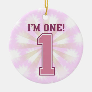 Big Pink Number One, Girl's First Birthday Ceramic Ornament