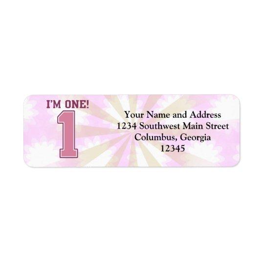 Big Pink Number One, Girl's First Birthday Return Address Label