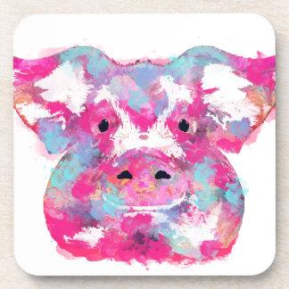 Big pink pig dirty ego beverage coaster