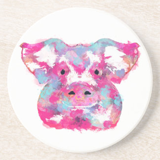 Big pink pig dirty ego drink coaster