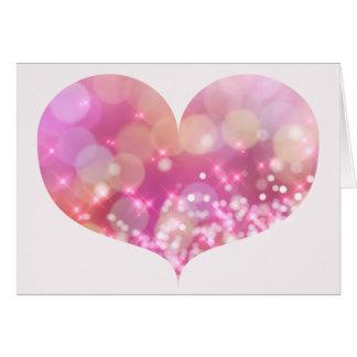 Big Pink Sparkling Heart   Birthday Greeting Card