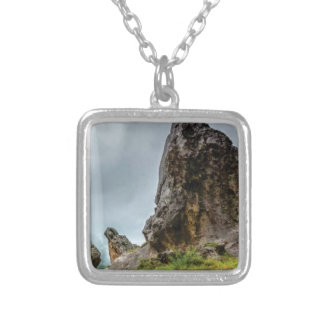big point little point silver plated necklace