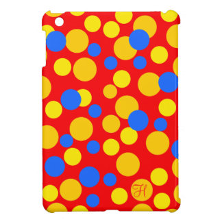 Big Polka Dot Pattern in Blue, Red and Yellow. iPad Mini Case