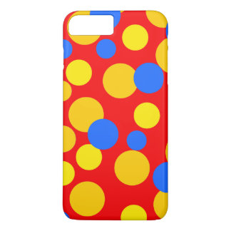 Big Polka Dot Pattern in Blue, Red and Yellow. iPhone 8 Plus/7 Plus Case