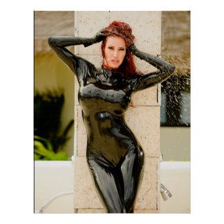 BIG POSTER -  BLACK LATEX CATSUIT - Bianca Beaucha
