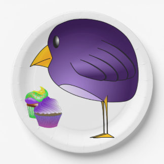 Big Purple Bird and Cupcakes Personalized Paper Plate