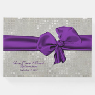 Big Purple Bow Quinceañera Guest Book