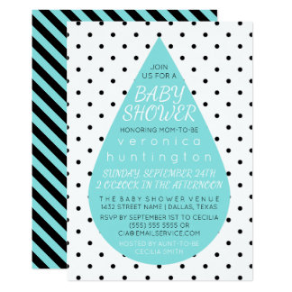Big Raindrop & Polka Dots Blue Baby Shower Card