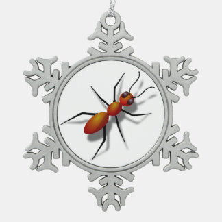 Big Red Ant Snowflake Pewter Christmas Ornament