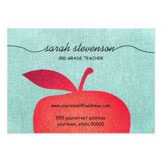 Big Red Apple Chalkboard School Teacher Linen Look Pack Of Chubby Business Cards