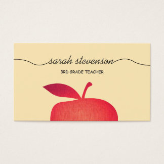 Big Red Apple Elementary School Teacher 3 Business Card
