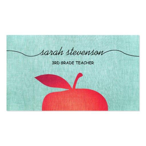 Big Red Apple School Teacher Linen Look Business Card Template
