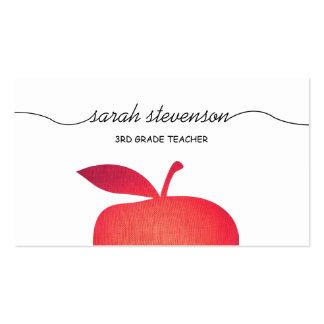 Big Red Apple School Teacher White Business Card