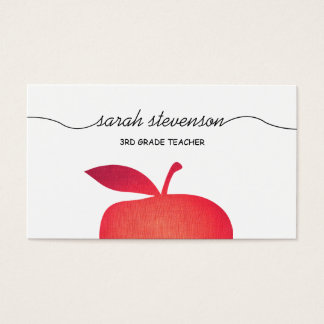 Big Red Apple School Teacher White Business Card