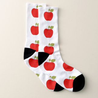 Big red apples with leaves on white patterned socks