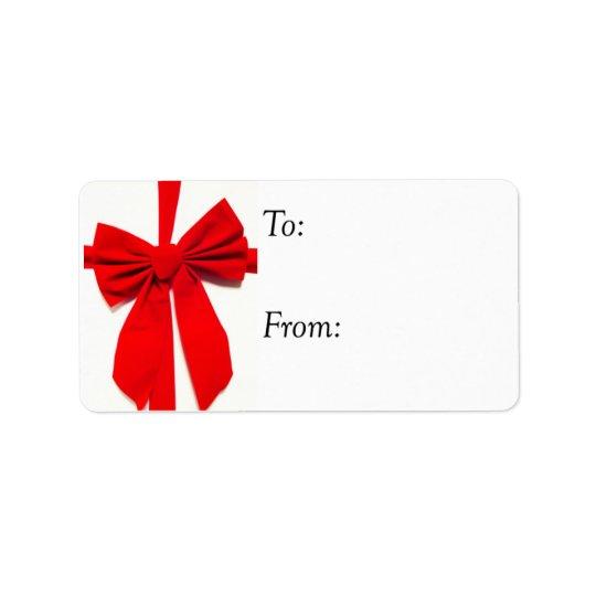 Big Red Bow Christmas Gift Tag
